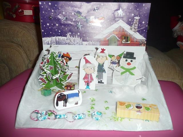 Christmas Shoebox Diorama.Charlie And Lola Crafts Christmas Shoebox Scene Finished