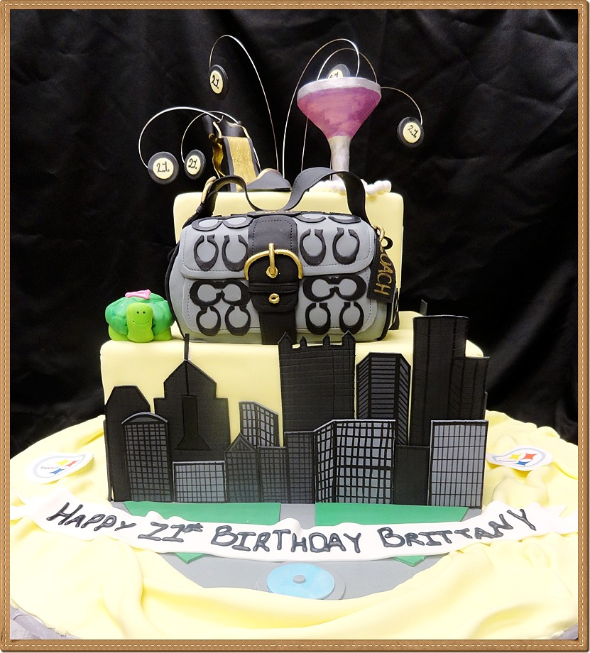 Awesome 3D Custom Fondant Birthday Cake Pittsburgh City And Coach Flickr Funny Birthday Cards Online Fluifree Goldxyz