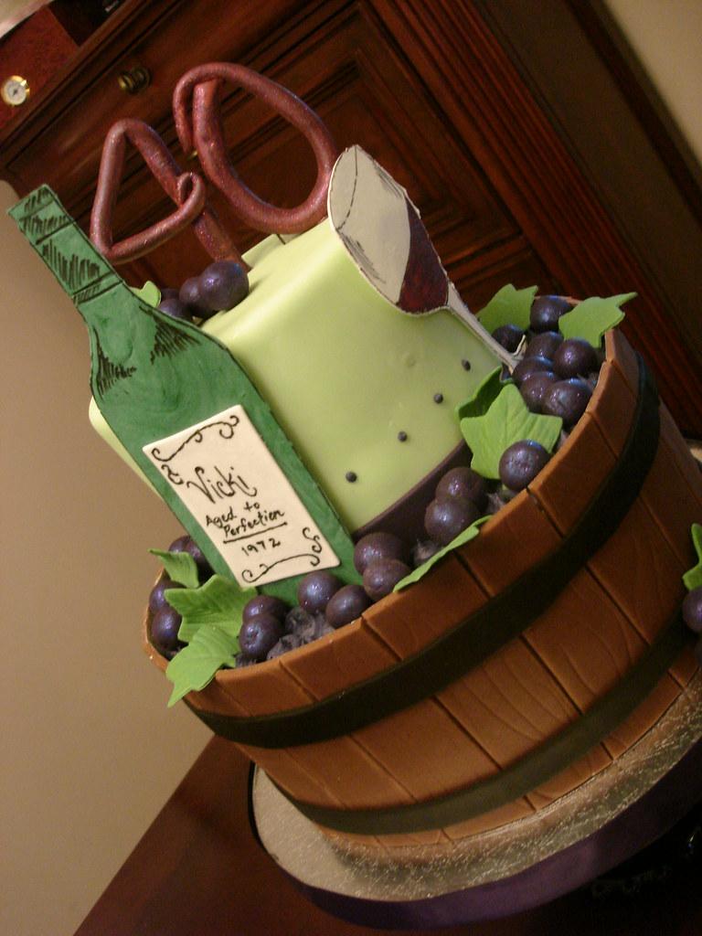 Astounding Wine Lovers Birthday Cake A Wine Lovers 40Th Birthday Cake Flickr Funny Birthday Cards Online Ioscodamsfinfo