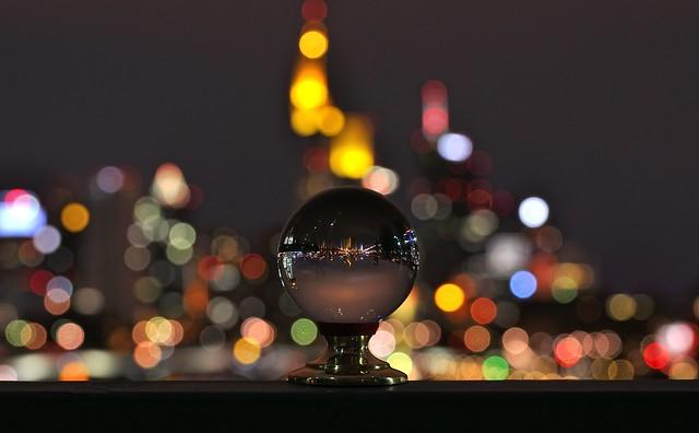 Skyline of Frankfurt  in a sphere