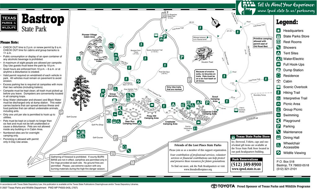 Bastrop State Park Facility Map Texas Parks And Wildlife Flickr