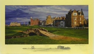 """The Swilcan Bridge"", The 18th Hole of the Old Course St. Andrews Links by Linda Hartough at Smith Galleries 