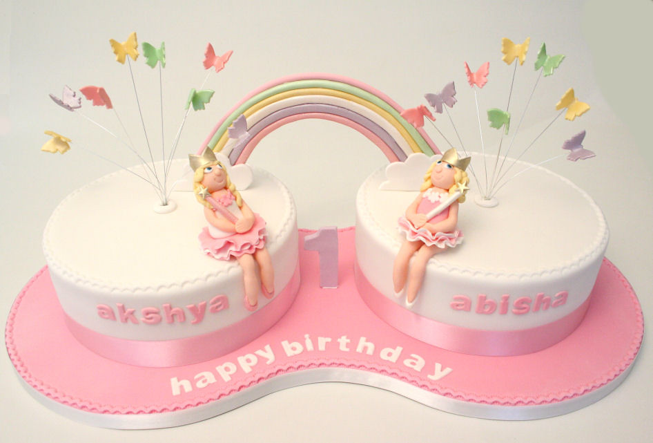 Marvelous Twins 1St Birthday Cake Cake For 2 Little Girls With All S Flickr Funny Birthday Cards Online Fluifree Goldxyz