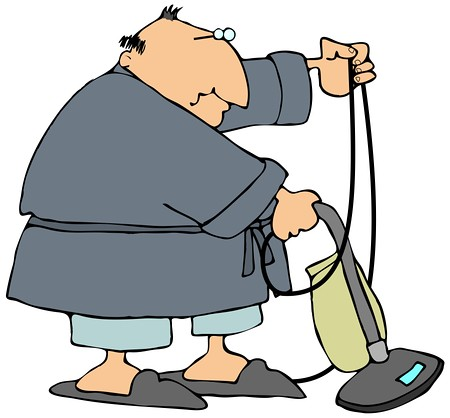 Chubby Man In A Robe, Pjs And Slippers, Using A Vacuum To … | Flickr