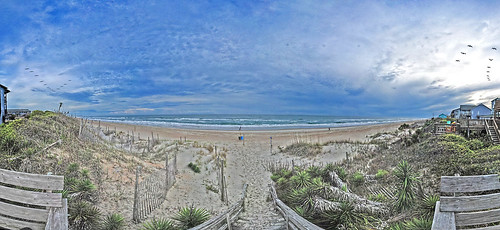 ocean sunset panorama beach beer birds nc sand waves dunes atlantic carolina outer isle emerald hdr banks