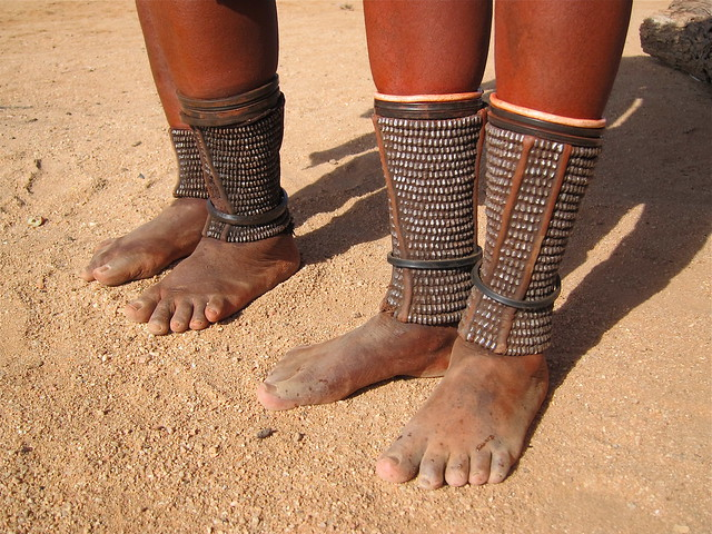Detail of the Himba women's ankle jewellery