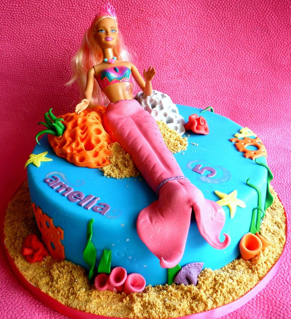 Astounding Mermaid Barbie Birthday Cake This Is An 8 Eggless Chocola Flickr Funny Birthday Cards Online Alyptdamsfinfo