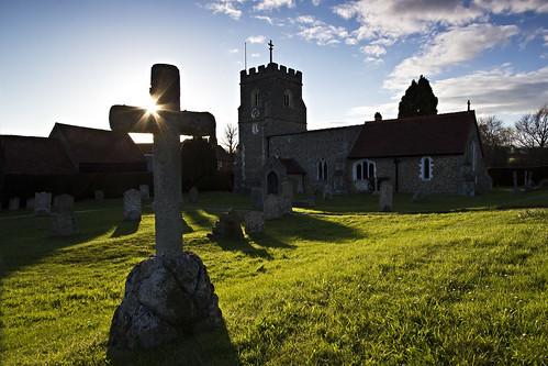 uk england sun church grave graveyard clouds soft unitedkingdom flare grad hitech formatt canon1022 graveley gnd 09gnd canon550d 03gnd