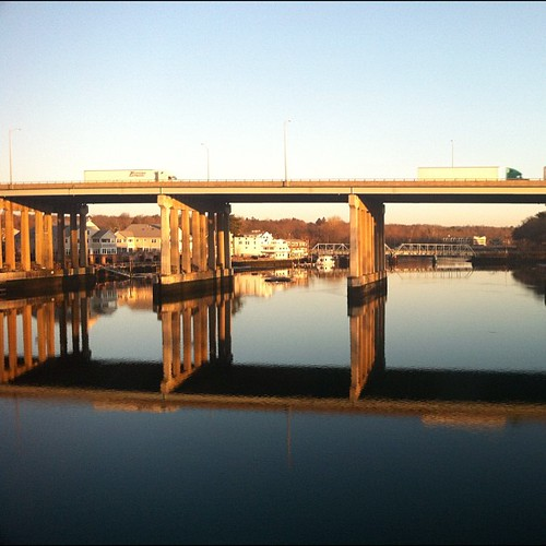 bridge reflection water sunrise square highway ct squareformat even normal westport saugatuck i95 iphone westportct sooc iphoneography instagramapp uploaded:by=instagram