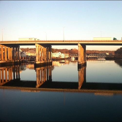 bridge reflection water sunrise square highway ct squareformat even normal westport saugatuck i95 iphone westportct sooc iphoneography instagramapp uploaded:by=instagram