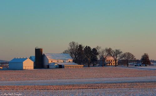 county winter house snow field barn rural sunrise landscape pennsylvania farm pa lancaster homestead jennifermacneilltraylor