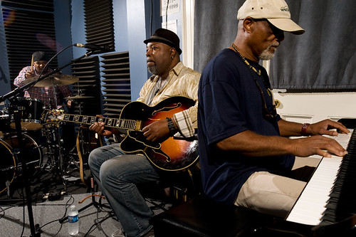 The Mash Up (left to right) Terrance Higgins, Grant Green Jr. and Ike Stubblefield in studio by Ryan Hodgson-Rigsbee