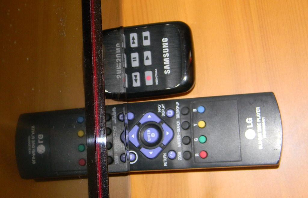 samsung LG TV bluray remote controls reflection 26th April