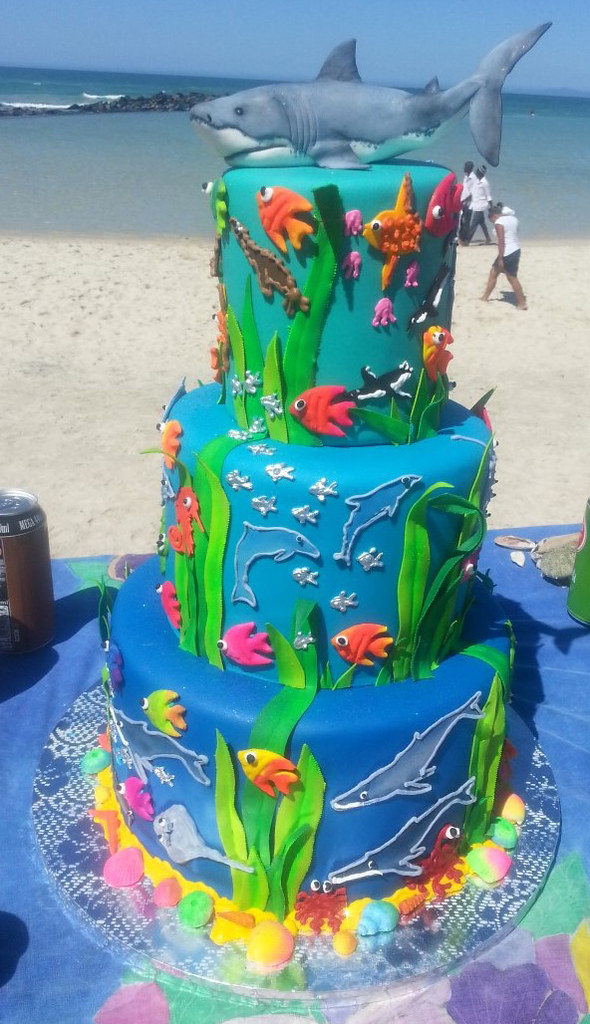 Awe Inspiring Daniellas 3 Tier Birthday Cake With A Save Our Oceans T Flickr Birthday Cards Printable Trancafe Filternl