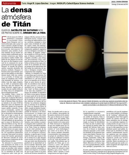 ZOCO Astronomía: La densa atmósfera de Titán   by Ángel López-Sánchez