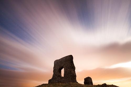 longexposure castle clouds stars scotland aberdeenshire alba fort hill ruin garioch dunnydeer
