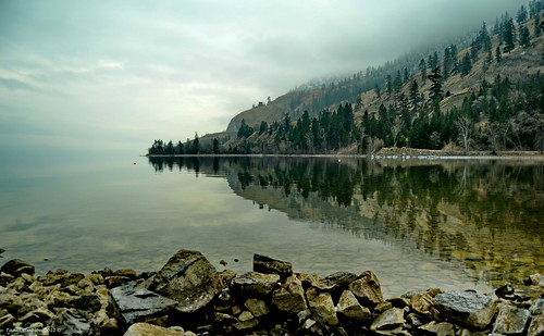 landscape water lake okanaganlake rocks reflections trees pine cottonwood shoreline sky fog cloud okanagan okanaganvalley okanaganlakeprovincialpark summerland bc britishcolumbia canada taniasimpson photographer photography photograph photo image copyrightimage nikon nikond7000