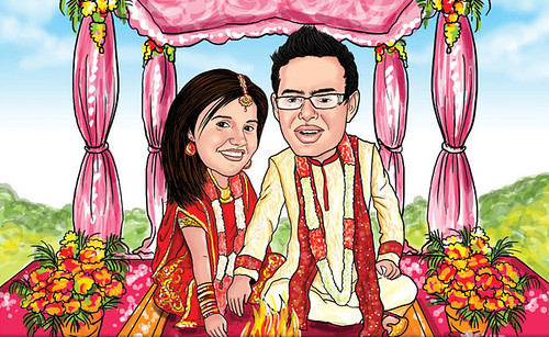 North Indian Wedding couple caricature | by elocaricaturesindia