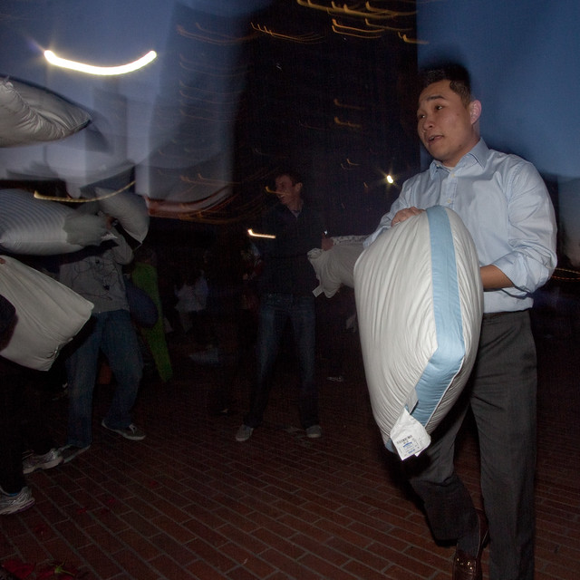 Valentines Day Pillow Fight 2012: office casual