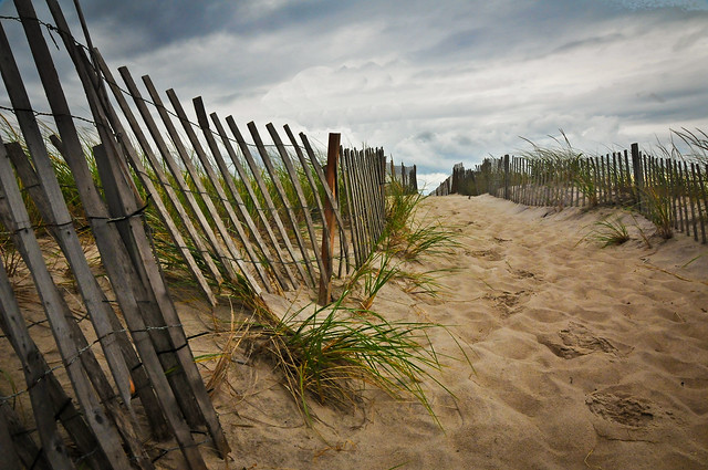 a cloudy day at the beach, Ponquogue Beach, Hampton Bays