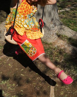 Lace edge gauchos, ruffle sleeve top