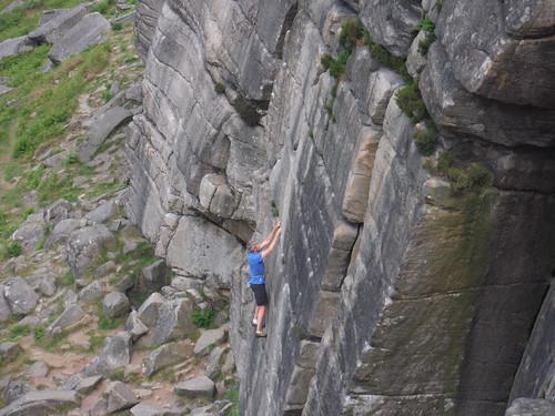 Rockclimber, Stanage Edge SWC Walk 266 - Sheffield to Bamford (via Burbage Rocks and Stanage Edge) or to Moscar Lodge