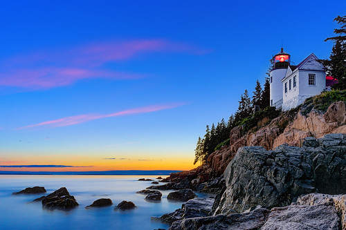 bassharborheadlight bassharborlighthouse acadia acadianationalpark lighthouse dusk landscape sky sea maine newengland harbor rocks bassharbor mountdesertisland shoreline insiteimage nikon d750 findyourpark acadia100 nps100