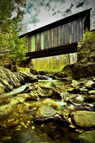 new wood travel bridge england fall water gold nikon stream long exposure vermont angle ryan wide covered brook 5100 stowe vt grennan d5100 rwgrennan rgrennan
