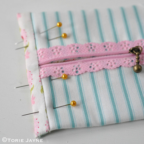 Lace Zip Pretty Pencil Case tutorial 13 | by toriejayne
