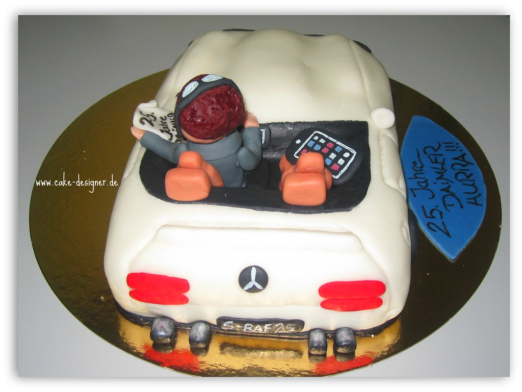 Remarkable 97 Fondant Torte Cabrio Mercedes Benz Weiss Sengul Akbas Flickr Personalised Birthday Cards Veneteletsinfo