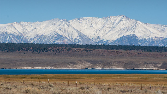View of Crowley Lake and the White Mountains behind it