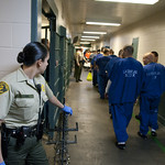 March 6, 2013 - 08:47 - Inmates are placed on four man chains, loaded on buses and then transported to court. Credit: Chris Miller, Los Angeles County Sheriff's Department Category: Jail