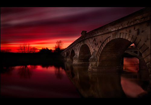 bridge sunset red sky reflection water night canon river evening shropshire 10 bridges sigma severn shrewsbury stop filter 7d 1020 atcham