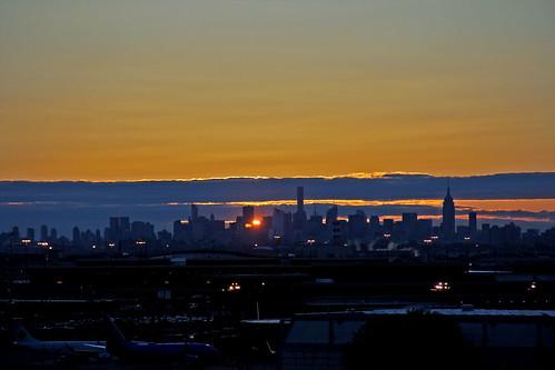 newyorkcity red sky sun yellow skyline sunrise skyscrapers sunandclouds sunrisephotography