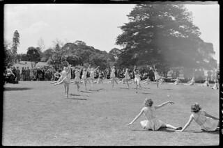 Outdoor dancers, schoolgirls in Botanic Gardens, Sept 1949, from Series 02: Sydney people & streets, 1948-1950, photographed by Brian Bird