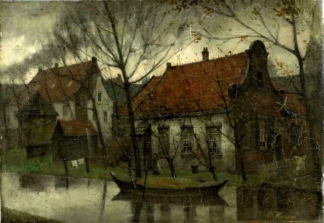 Karsen, Eduard (Dutch, 1860-1941)  - Village Houses at Dusk  - s.d.