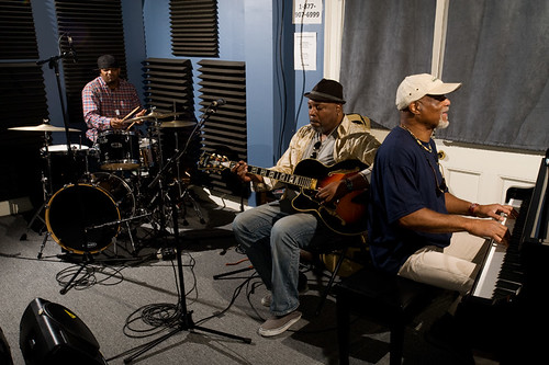 The Mash Up (left to right) Terrance Higgins, Grant Green Jr. and Ike Stubblefield in the WWOZ studio.  Photo by Ryan Hodgson-Rigsbee