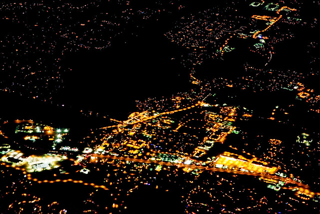View from Airplane Coming in Low over Minneapolis at Night