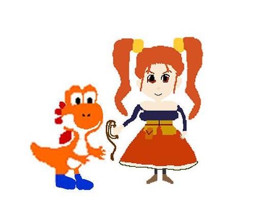 Jessica and orange Yoshi