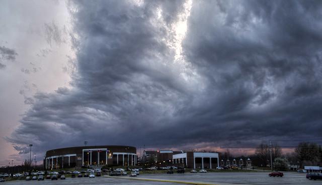 Storm clouds, Hooper Eblen Center, Tennessee Technological University, Putnam Co, TN