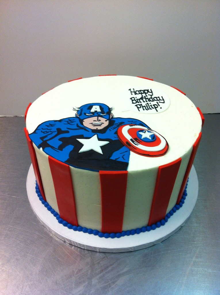 Admirable Captain America Birthday Cake Polkadots Olga Flickr Funny Birthday Cards Online Alyptdamsfinfo