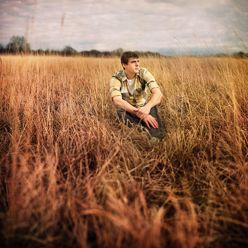 man field grass clouds self square sitting wheat meadow 366