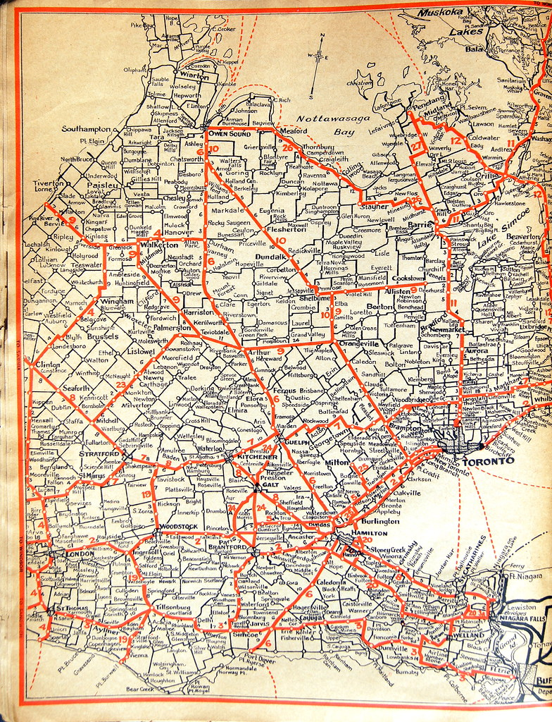Road Map of South Western Ontario in 1935 | Glen | Flickr