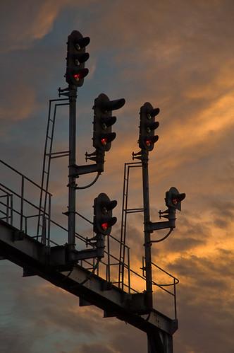 railroad bridge sunset orange virginia signal norfolksouthern