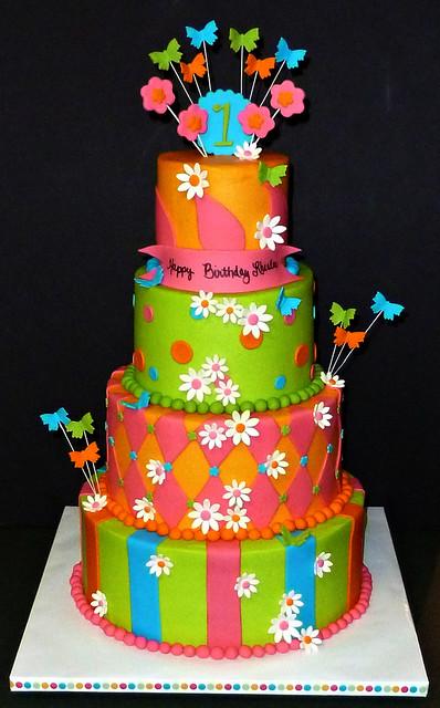 Bright Butterfly Birthday Cake
