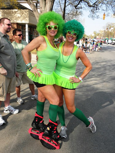 girls siily crazy fun parade laughing giggle green celebrate spring life joie joy friends stpatricksday pattys devine street columbia sc carolina saturday laugh camera see view live carpediem wild wig afro funny skates usc dress boobs sexy southcarolina hair silly delight neighborhood clever women