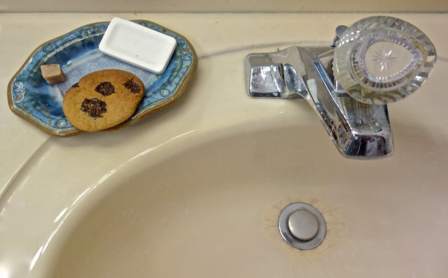 Chocolate Chip Cookie on a Soap Dish