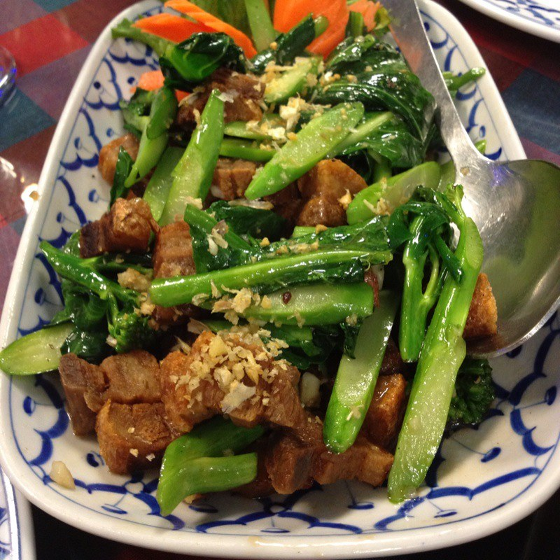 Crispy Pork & Gailan Stir Fry @ Thai Place Restaurant | Flickr