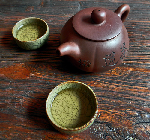 the tea, first round in the tea ceremony