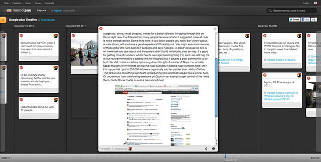 Google plus Timeline | Robert Scoble | Memolane | Dec 20, 2011